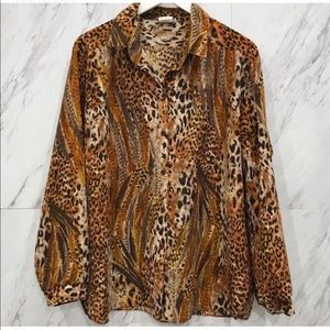 Vintage 1980's Cheetah Print Button Down Top